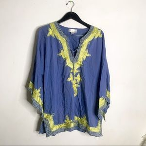Soft Surroundings Blue Tunic Top Lime Embroidered